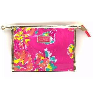 Lilly Pulitzer Cosmetic Bag Pink & Gold Waterproof